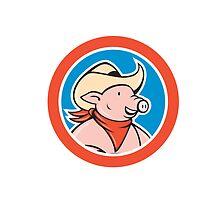 Pig Cowboy Head Circle Cartoon by patrimonio