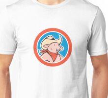 Pig Cowboy Head Circle Cartoon Unisex T-Shirt