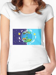 Paper Mario World Mashup Poster Women's Fitted Scoop T-Shirt