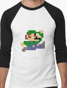 Luigi jumping - pixel art Men's Baseball ¾ T-Shirt