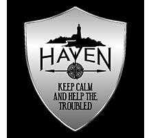 Haven Keep Calm Silver Badge Logo Photographic Print