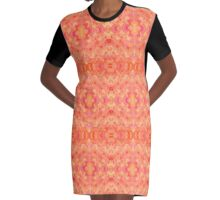 Hand-Painted Abstract Watercolor in Orange Tangerine Graphic T-Shirt Dress
