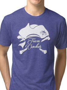 Haven Team Crocker White Pirate Hat Logo Tri-blend T-Shirt