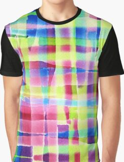 Hand-Painted Abstract Gingham Weave Neon Rainbow Graphic T-Shirt