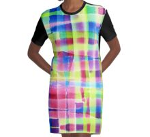 Hand-Painted Abstract Gingham Weave Neon Rainbow Graphic T-Shirt Dress
