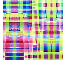 Hand-Painted Abstract Gingham Weave Neon Rainbow Photographic Print