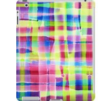 Hand-Painted Abstract Gingham Weave Neon Rainbow iPad Case/Skin