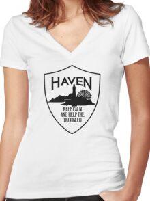 Haven Keep Calm Black Logo Badge Women's Fitted V-Neck T-Shirt