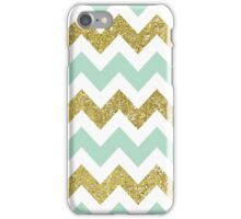 Mint and Gold Faux Glitter Chevron iPhone Case/Skin