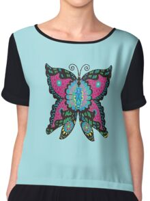 Psychedelic Butterfly Chiffon Top