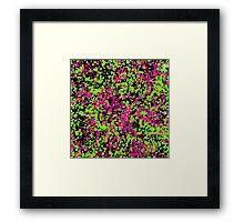 Neon Pink Green Paint Splatter  Framed Print