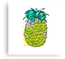 Juice pineapple. Hand drawn tropical fruit with watercolour splash Canvas Print