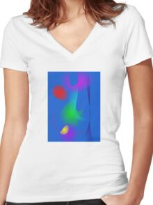 Floating Images in Blue Abstract Art Women's Fitted V-Neck T-Shirt