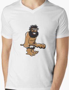 Steinzeitmensch höhlenmensch witzig fröhlich keule sonnenbrille  Mens V-Neck T-Shirt