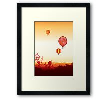 Hot air balloons sunset valley Framed Print