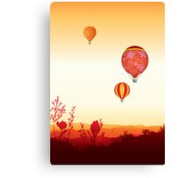 Hot air balloons sunset valley Canvas Print