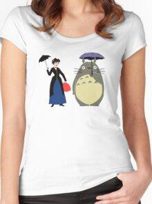 Mary Poppin and totoro umbrela Women's Fitted Scoop T-Shirt
