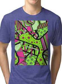 Miniature Aussie Tangle 12 Spring Variation Green and Pink Tri-blend T-Shirt