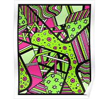 Miniature Aussie Tangle 12 Spring Variation Green and Pink Poster