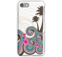 Tropical Waves & Fuchsia Pink Hibiscus iPhone Case/Skin