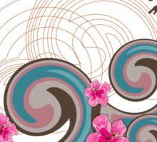 Tropical Waves & Fuchsia Pink Hibiscus Sticker