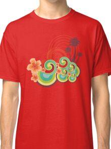 Tropical Beach Waves & Tangerine Orange Hibiscus Classic T-Shirt