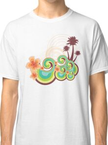 Tropical Beach Waves & Tangerine Orange Hibiscus Classic T-Shirt