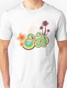 Tropical Beach Waves & Tangerine Orange Hibiscus Unisex T-Shirt