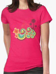 Tropical Beach Waves & Tangerine Orange Hibiscus Womens Fitted T-Shirt