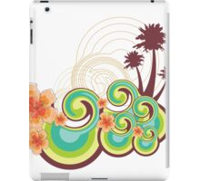 Tropical Beach Waves & Tangerine Orange Hibiscus iPad Case/Skin