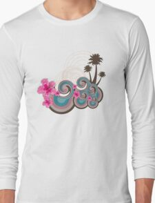 Tropical Waves & Fuchsia Pink Hibiscus Long Sleeve T-Shirt