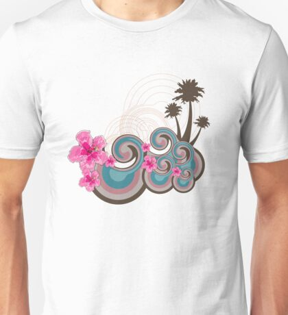 Tropical Waves & Fuchsia Pink Hibiscus Unisex T-Shirt
