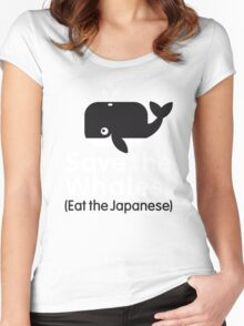 Save The Whale - Eat The Japanese Women's Fitted Scoop T-Shirt