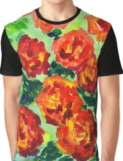 Vibrant Orange Peonies Green Leaves Acrylic Painting Graphic T-Shirt