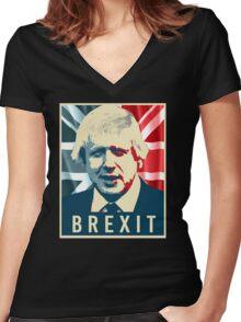 Boris Johnson Brexit Women's Fitted V-Neck T-Shirt
