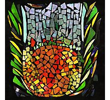 RECYCLED GLASS MOSAIC - Orange, green, mother of pearl. Photographic Print
