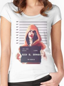 Red ridding hood mugshot Women's Fitted Scoop T-Shirt