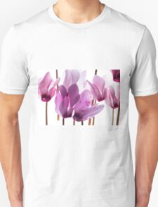backlit violet petals (Cyclamen) on a lightbox Unisex T-Shirt