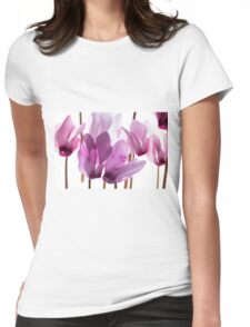 backlit violet petals (Cyclamen) on a lightbox Womens Fitted T-Shirt