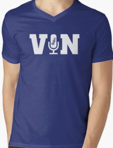 Vin Scully Microphone T Shirt Mens V-Neck T-Shirt