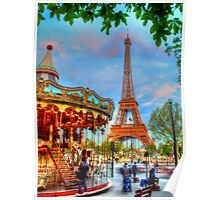 Eiffel Tower with carousel Poster