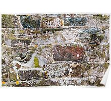 Irregular Stone Wall With Moss Poster