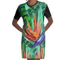 Bird of Paradise Crane Flower Acrylic Painting Graphic T-Shirt Dress