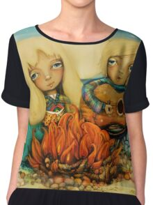 beach campfire Women's Chiffon Top