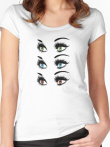 Eyes with long eyelashes  Women's Fitted Scoop T-Shirt