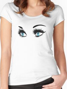 Blue eyes with long eyelashes  Women's Fitted Scoop T-Shirt