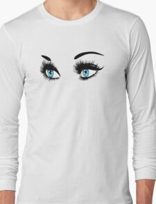 Blue eyes with long eyelashes  Long Sleeve T-Shirt