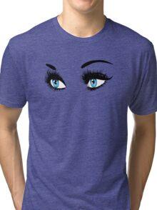 Blue eyes with long eyelashes  Tri-blend T-Shirt