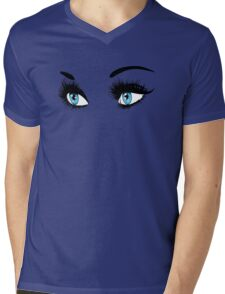 Blue eyes with long eyelashes  Mens V-Neck T-Shirt