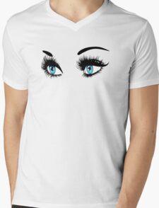 Blue eyes with long eyelashes  Mens V-Neck T-Shirt